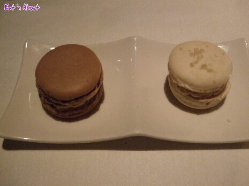 Raincity Grill: Chocolate and salted caramel almond macarons
