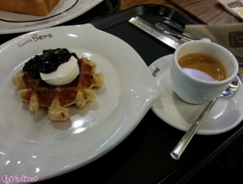 Caffe bene in Myeongdong, Seoul Korea: Blueberry cream cheese waffle