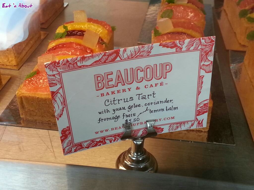 Beaucoup Bakery: Citrus Tart display