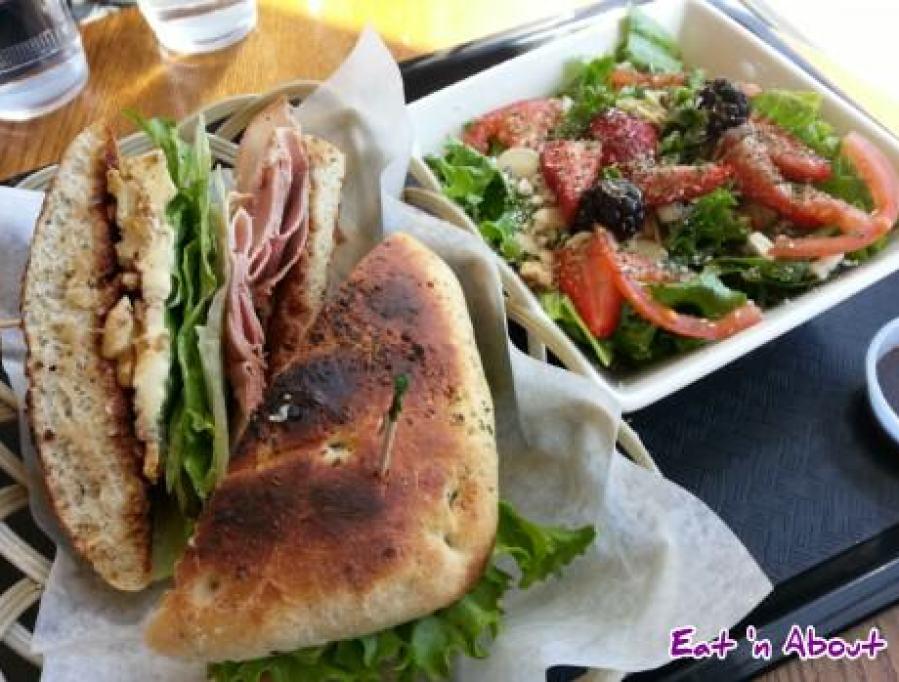 Tealips Bubble Tea & Coffee: Apple Foccacia Sandwich and salad combo