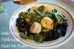 Squid Ink Pasta with Garlic Prawns and Fiddleheads