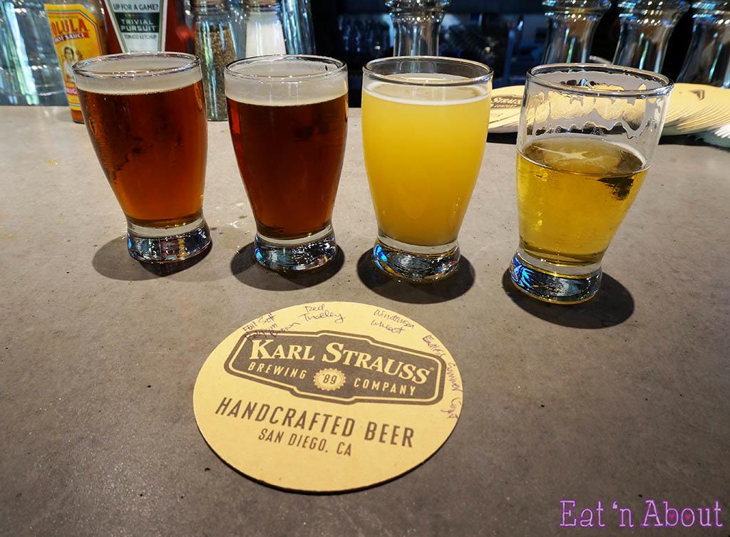 Karl Strauss Brewery & Gardens - beer flight