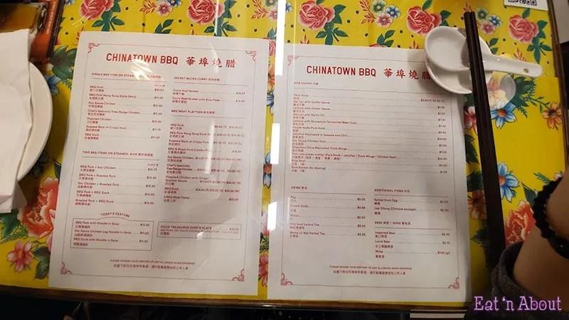 Chinatown BBQ Vancouver - Menu