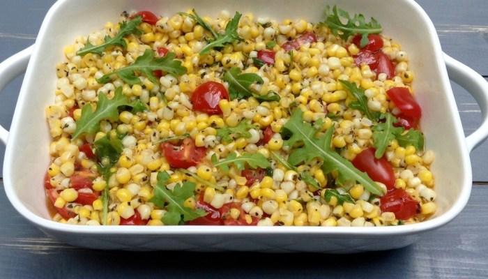 Balsamic Corn Salad & Vegan Burgers