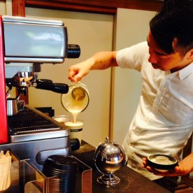 Pouring the extra creamy ice cappuccino