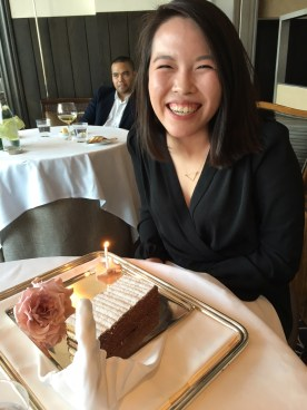 Cheesin' for camerawoman Lauren B.--celebrating an early birthday at Per Se