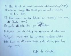 Mi libro favorito para el Día de Sant Jordi de mi alumno canadiense, A1.