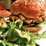 Crispy-chewy vegan veggie burgers