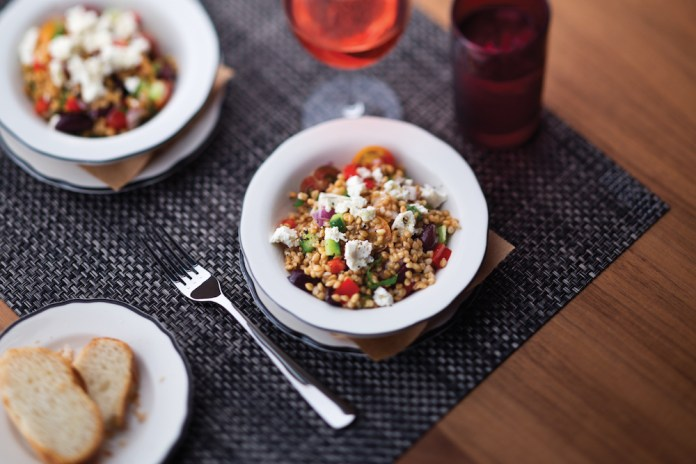 Greek farro salad with heirloom tomato, red pepper, red onion and French feta