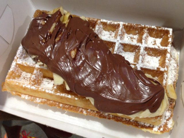 Belgian-style waffle with banana and Nutella from Nero Belgian Waffle Bar