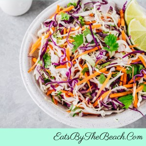 A delicious plate of Crunchy Asian Slaw - crunchy cabbage, carrots, and full of Asian flavors.  A perfect cool side dish for anything spicy.