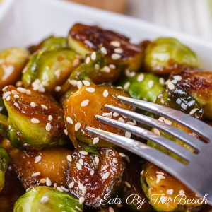 Roasted vegetable recipe for maple miso glazed brussels spouts