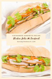 A Vietnamese sandwich, a Bahn mi of marinated grilled chicken, pickled carrots, jalapenos,, and cucumber, and fresh cilantro slathered with Sriracha mayonnaise