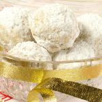 Classic cookie recipe of little shortbread balls coated in powdered sugar