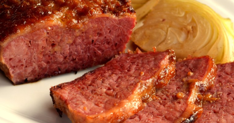 OVEN BAKED CORNED BEEF AND ROASTED CABBAGE STEAKS