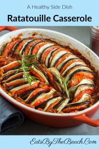 A healthy side dish, Ratatouille casserole is a baked sliced eggplant, potatoes, tomatoes, and eggplant in an herbaceous tomato sauce.
