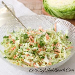 Bowl of creamy, sweet, and tangy Southern Style Coleslaw.