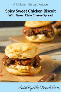 Spicy, sweet, chicken biscuit with a hot honey butter topping and green chile cheese spread.