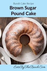 Plate of a Southern dessert - a tender, moist Brown Sugar Pound Cake.