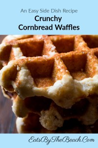 Plate of crunchy cornbread waffles. Cornbread that is baked in a waffle iron made by EatsByTheBeach.Com