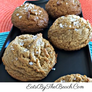 A plate of the trendy cookie recipe by Ovenly for 5 ingredient peanut butter cookies with no flour, no leaveners, no butter. An easy, peanut butter cookie with a sprinkle of flaked sea salt.