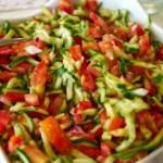 A bowl of Israeli Salad - chopped vegetables with an herbed lemon vinaigrette.
