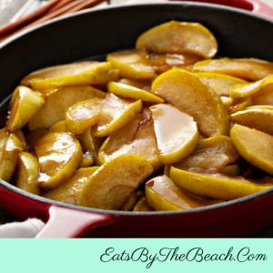 Skillet of Old Fashioned Fried Apples - sliced apples with butter and sugar , flavored with warm spices of cinnamon and apple pie spice. It is great as a side dish, brunch dish, or even a dessert.