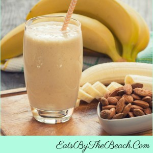 A quick and easy breakfast - a tall glass of high fiber banana almond smoothie.