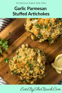 A baked Garlic Parmesan Stuffed Artichokes with Italian bread crumbs. Parmesan cheese, lemon zest, garlic, and Italian seasoning.  It is a delicious and beautiful side dish.
