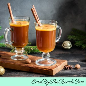 Glass mugs of Hot Buttered Rum - a warm, buttery, sweet cocktail