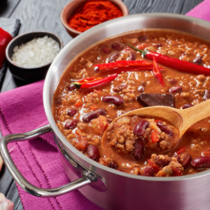 Pot of Homemade Beef Chili - perfect game day meal.