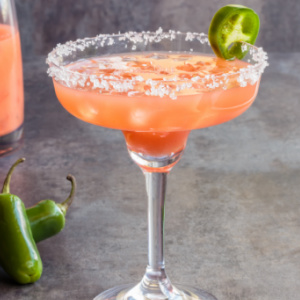 A spicy sweet Jalapeno, Guava Margarita.