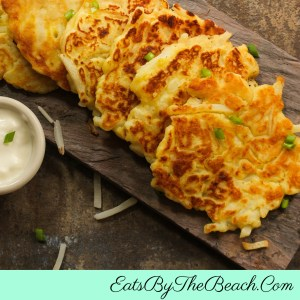 Plate of Irish Boxty, also known as Irish potato pancakes.  Tender and fluffy on the inside and golden and crispy on the outside.  They are great to serve for St. Patrick's Day.