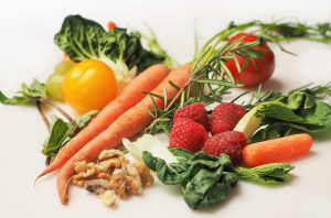 Vegetables, nuts, and fruit
