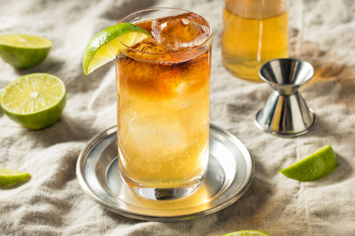 Father's Day Menu - highball glasses of Dark & Stormy Cocktails - dark rum, ginger beer, and lime.