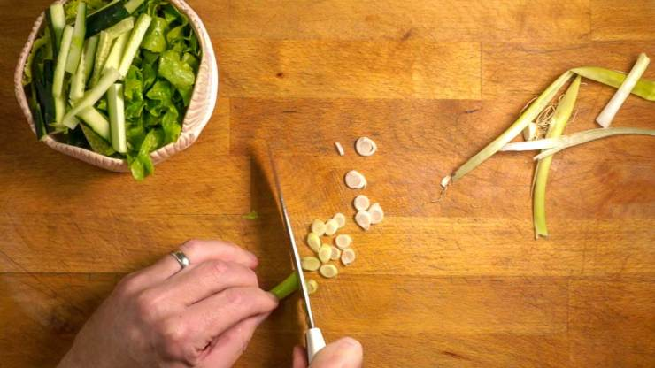 Cutting vegetables for Egg and Salmon Egg Rice Bowl Recipe