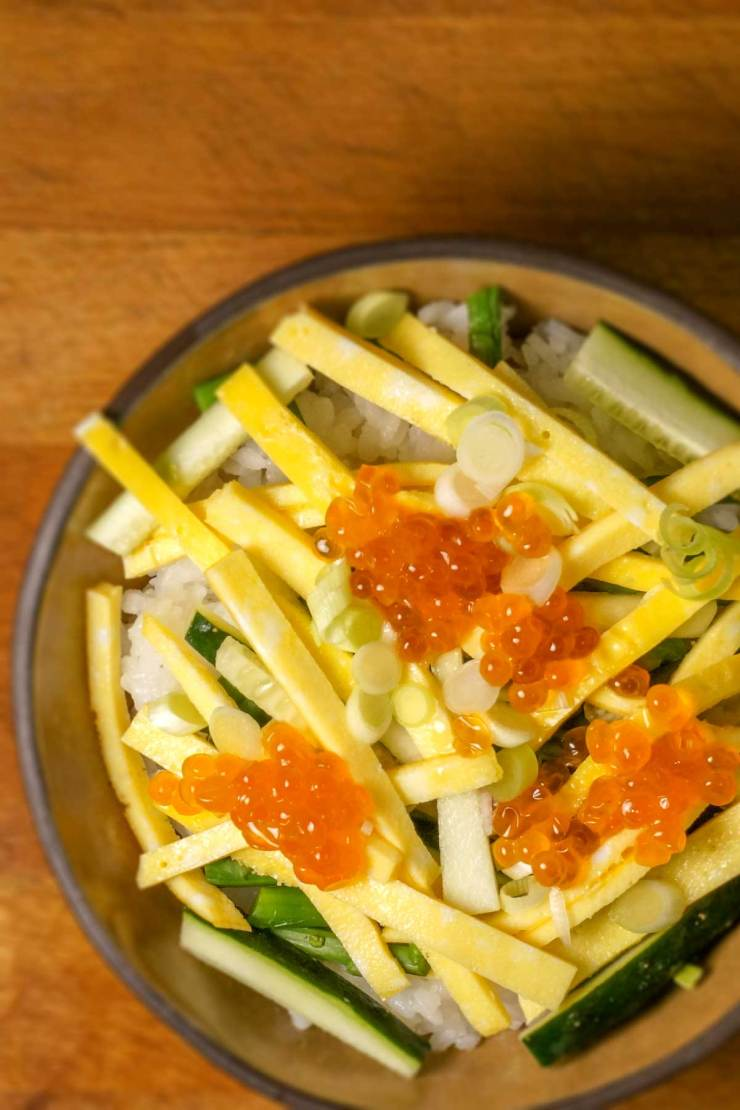 Featured Image of Egg and Salmon Egg Rice Bowl Recipe