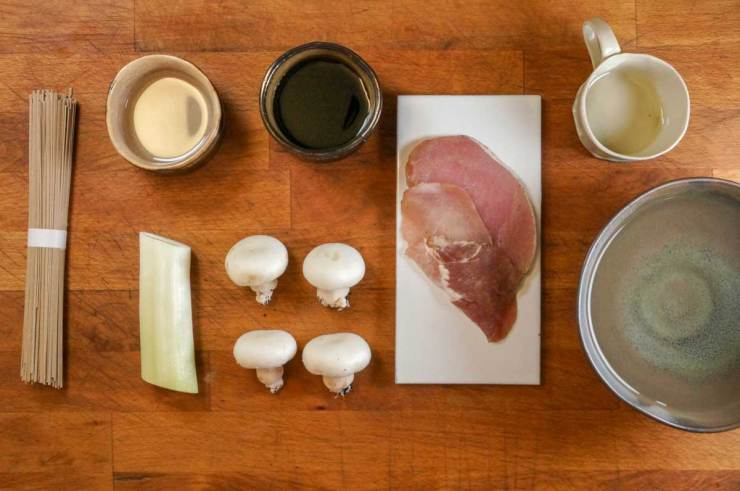 Japanese Pork Soba Noodle Soup Ingredients
