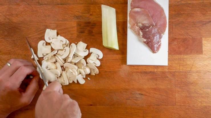 Slicing the vegetables for Japanese Pork Soba Noodle Soup