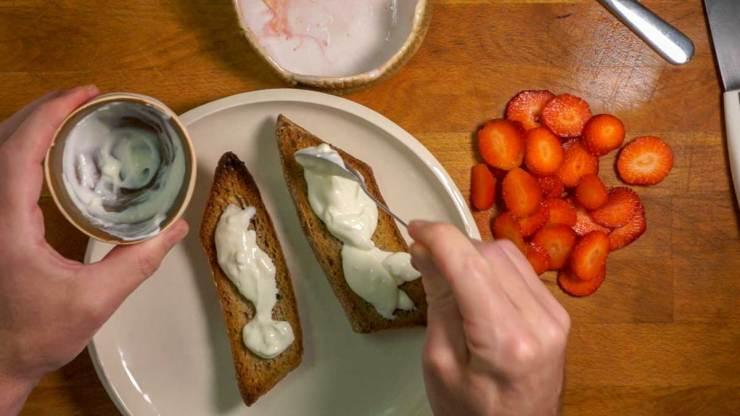 Strawberry Toast and Espresso Breakfast Yogurt Spreading