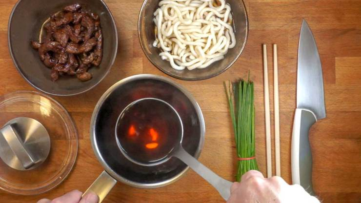 Plating the Sweet and Salty Beef Udon recipe