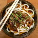 Sweet and Salty Beef Udon Recipe Close up