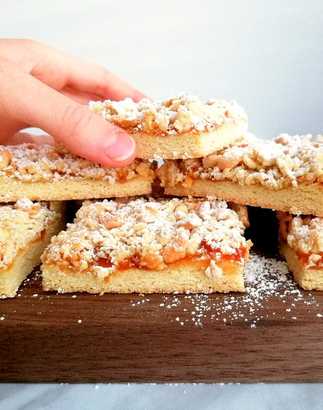 apricot jam bars stacked