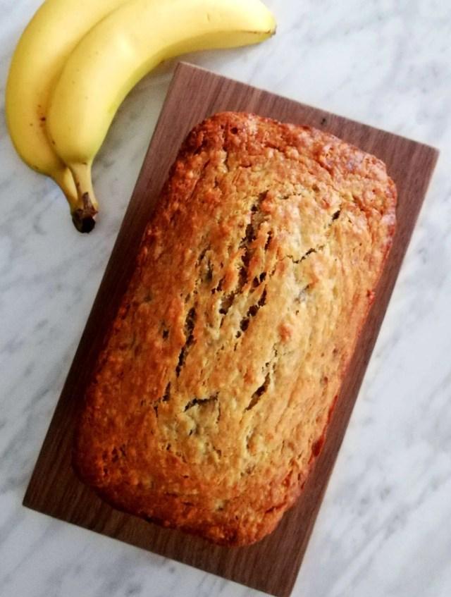 baked banana bread overhead