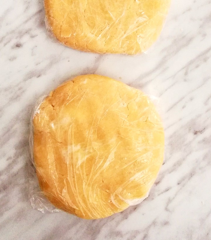 pie crust wrapped in plastic wrap and shaped into disks (2)