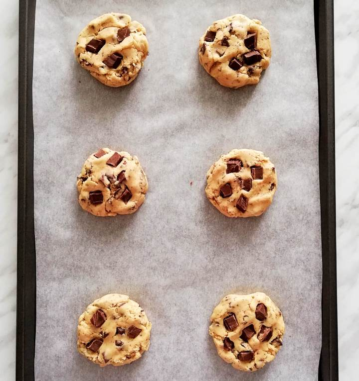 chocolate chip cookies on baking sheet