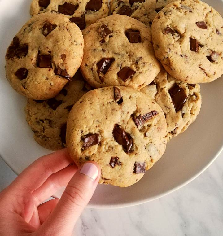 chocolate chip cookies taking close up