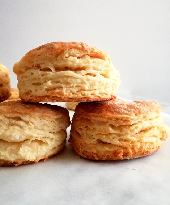 rolled buttermilk biscuits stacked side view