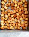 homemade croutons baked close up