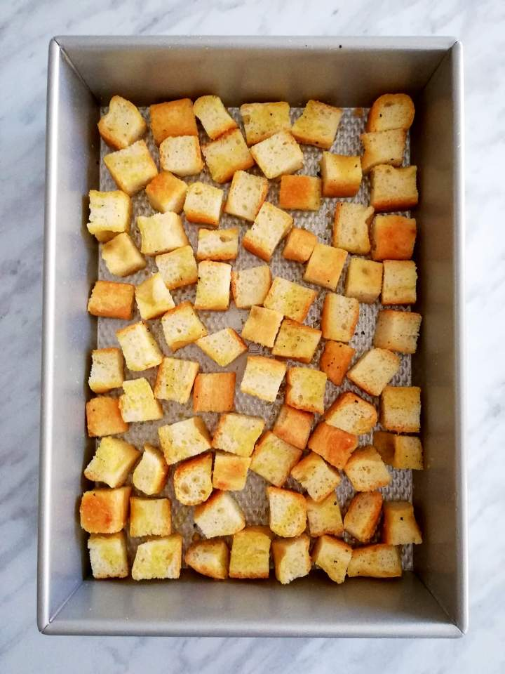 homemade croutons tossed in olive oil